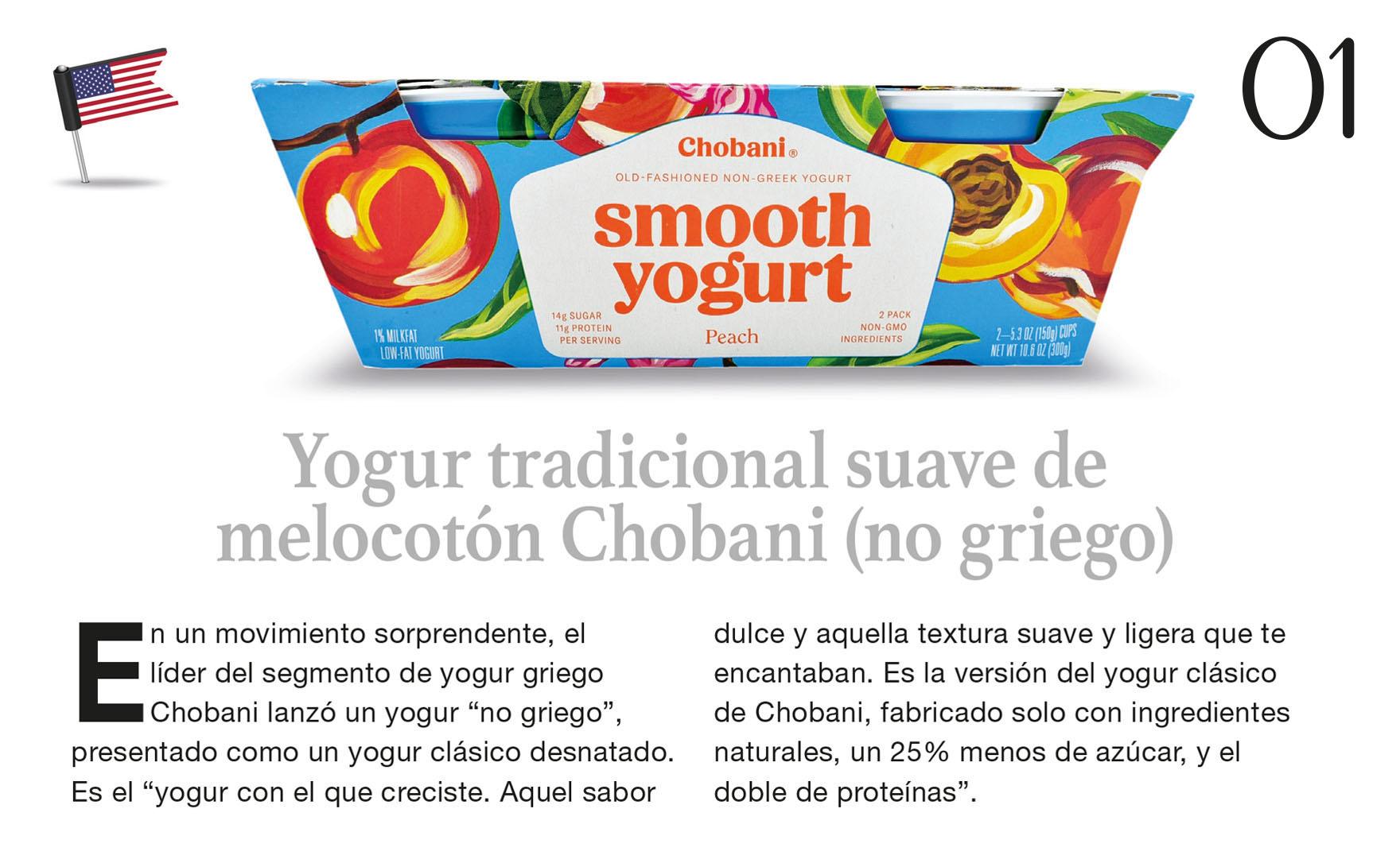 Yogur tradicional suave de melocotón Chobani (no griego)