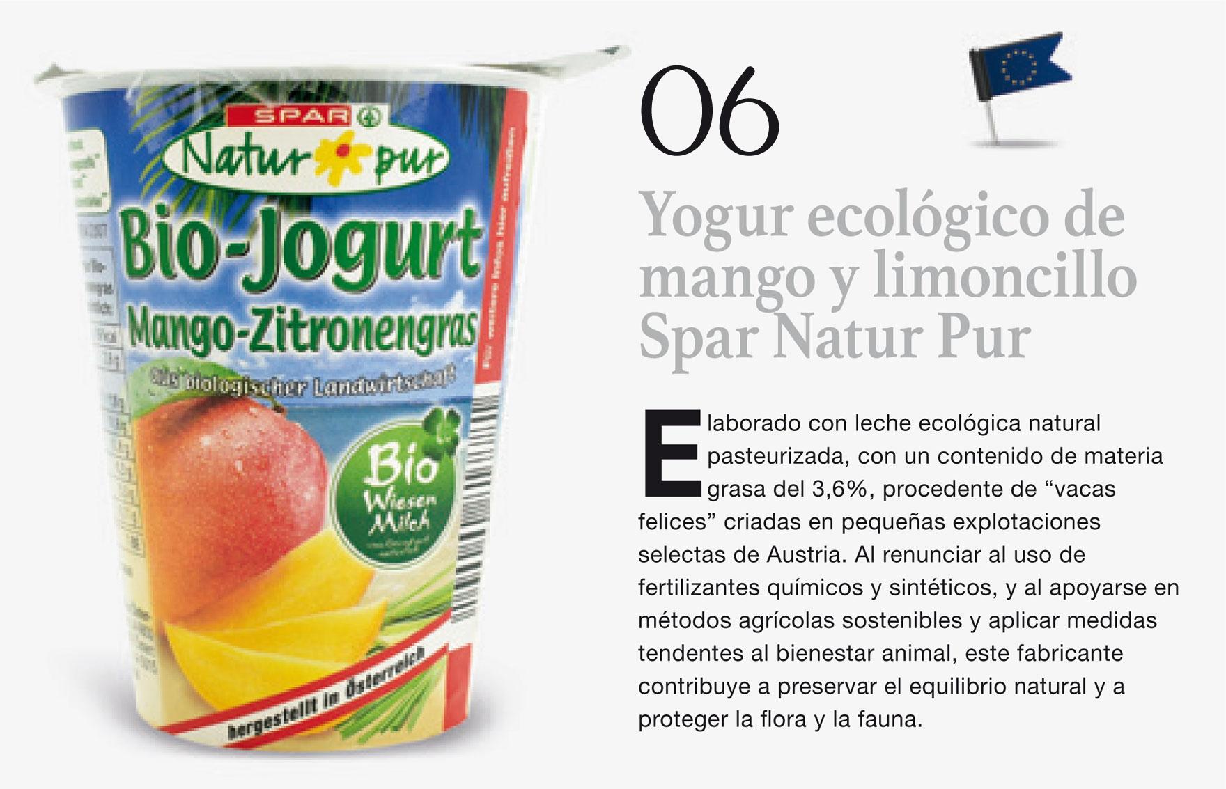 Yogur ecológico de mango y limoncillo Spar Natur Pur