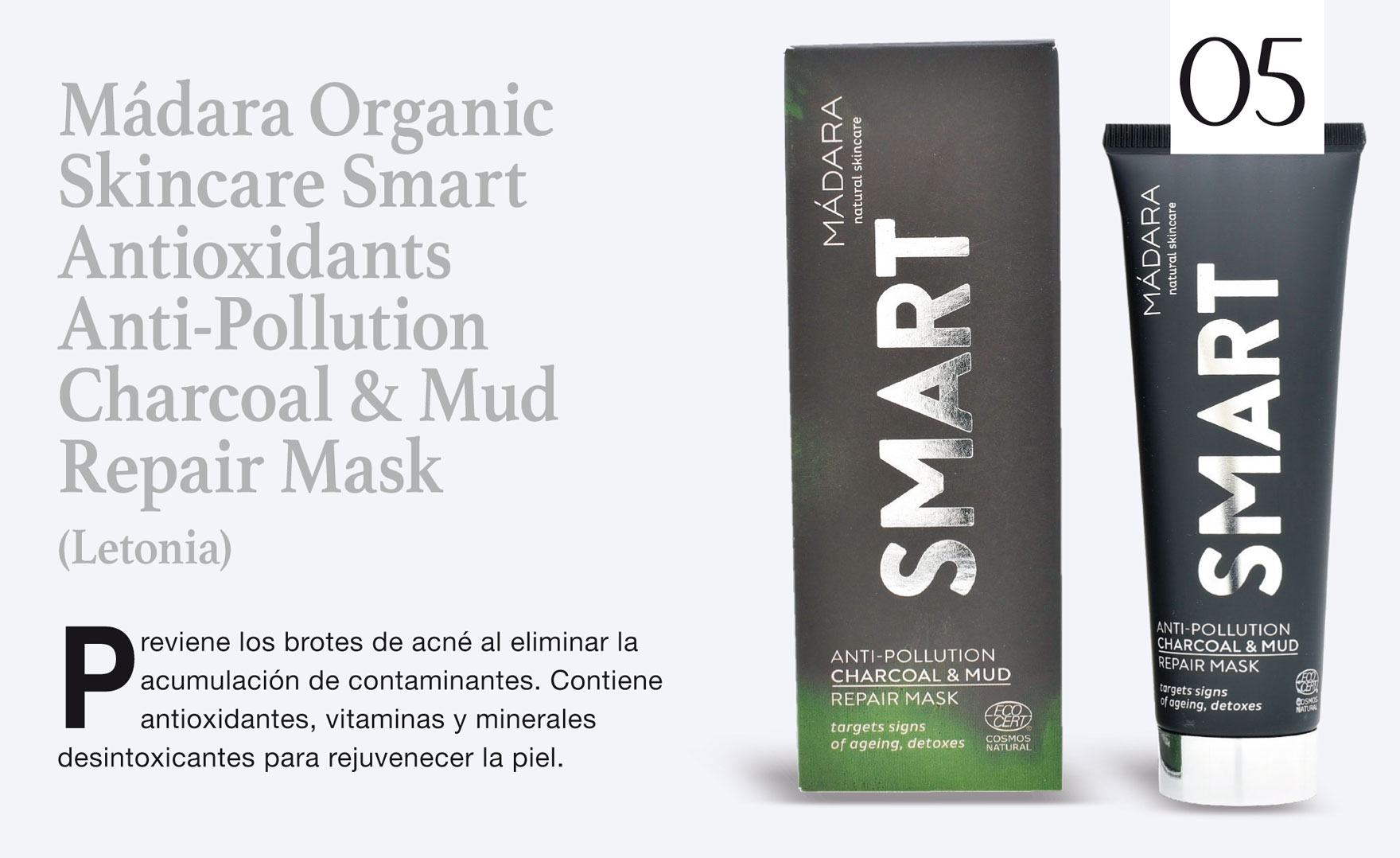 Mádara Organic Skincare Smart Antioxidants Anti-Pollution Charcoal & Mud Repair Mask