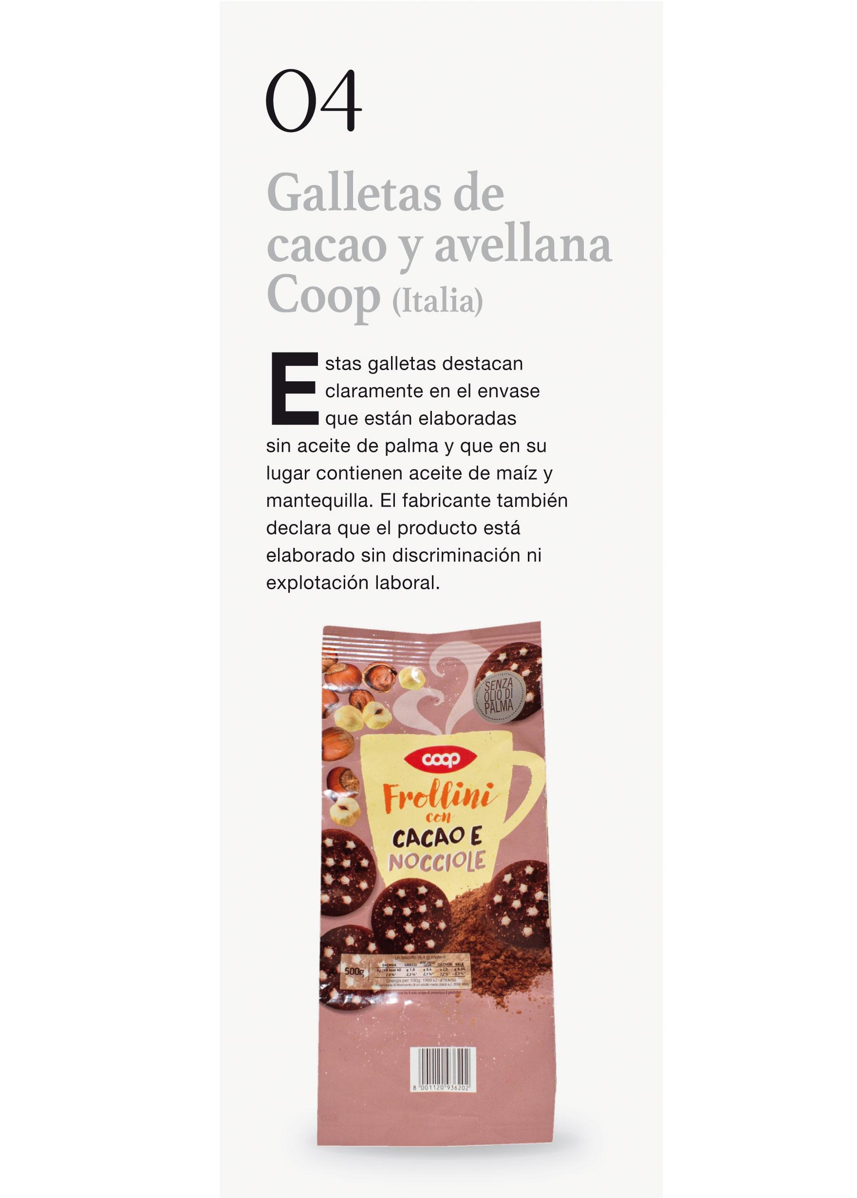 Galletas de cacao y avellana Coop (Italia)