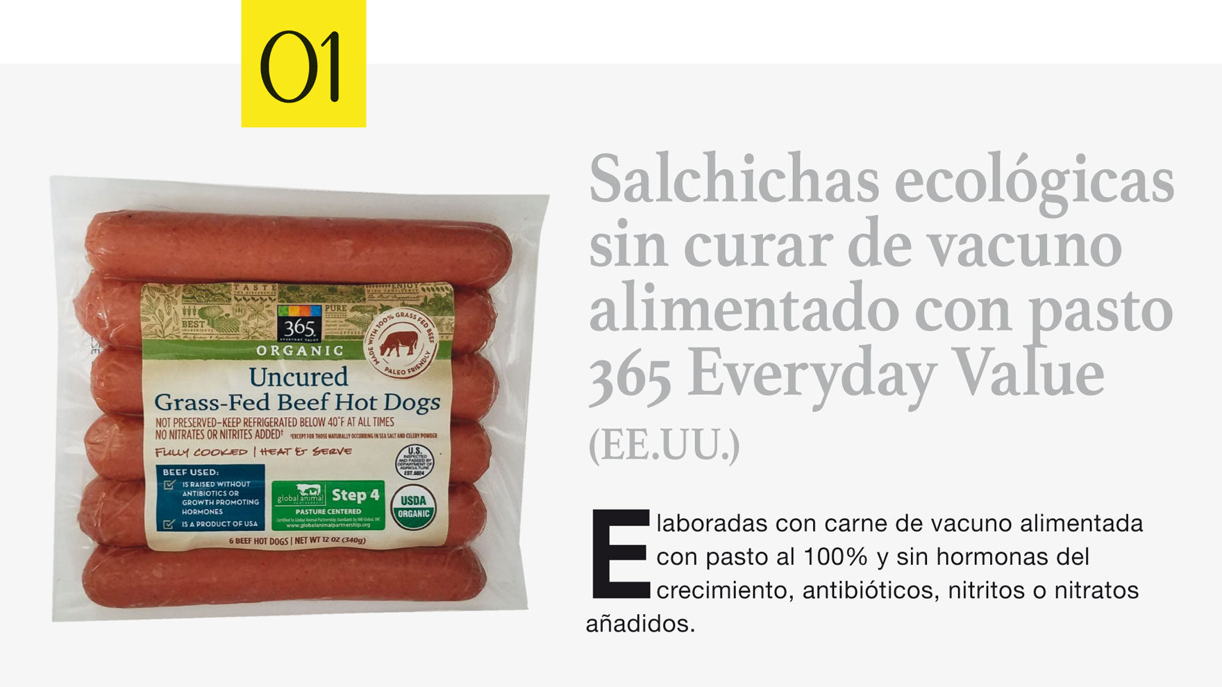 Salchichas ecológicas sin curar de vacuno alimentado con pasto 365 Everyday Value (EE.UU.)