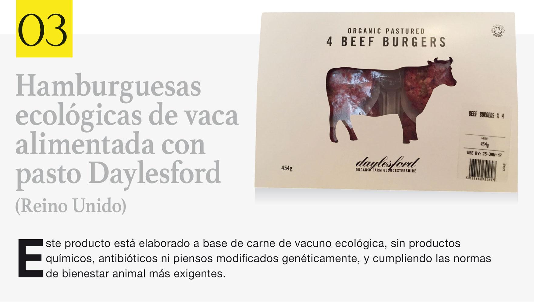 Hamburguesas ecológicas de vaca alimentada con pasto Daylesford (Reino Unido)