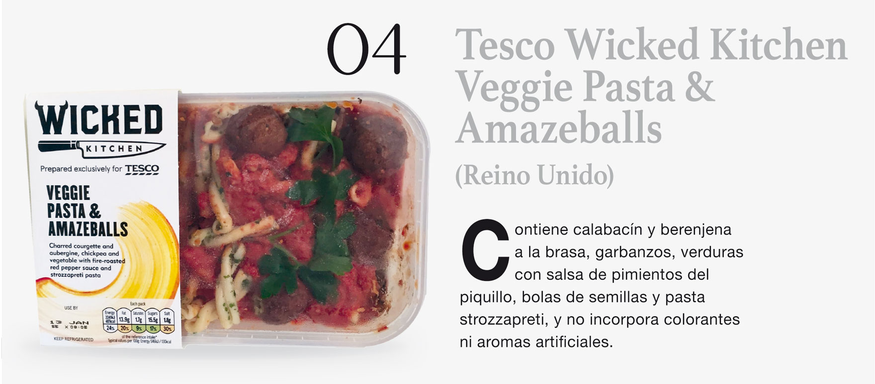 Tesco Wicked Kitchen Veggie Pasta & Amazeballs (Reino Unido)