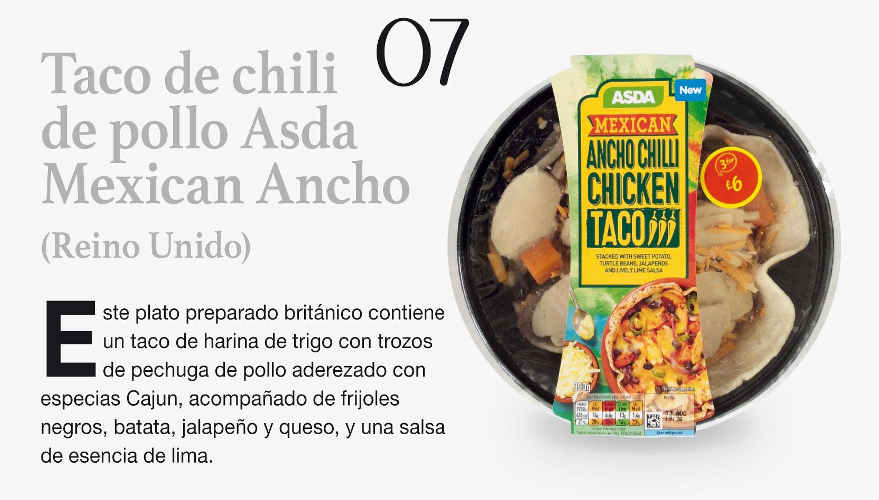 Taco de chili de pollo Asda Mexican Ancho (Reino Unido)
