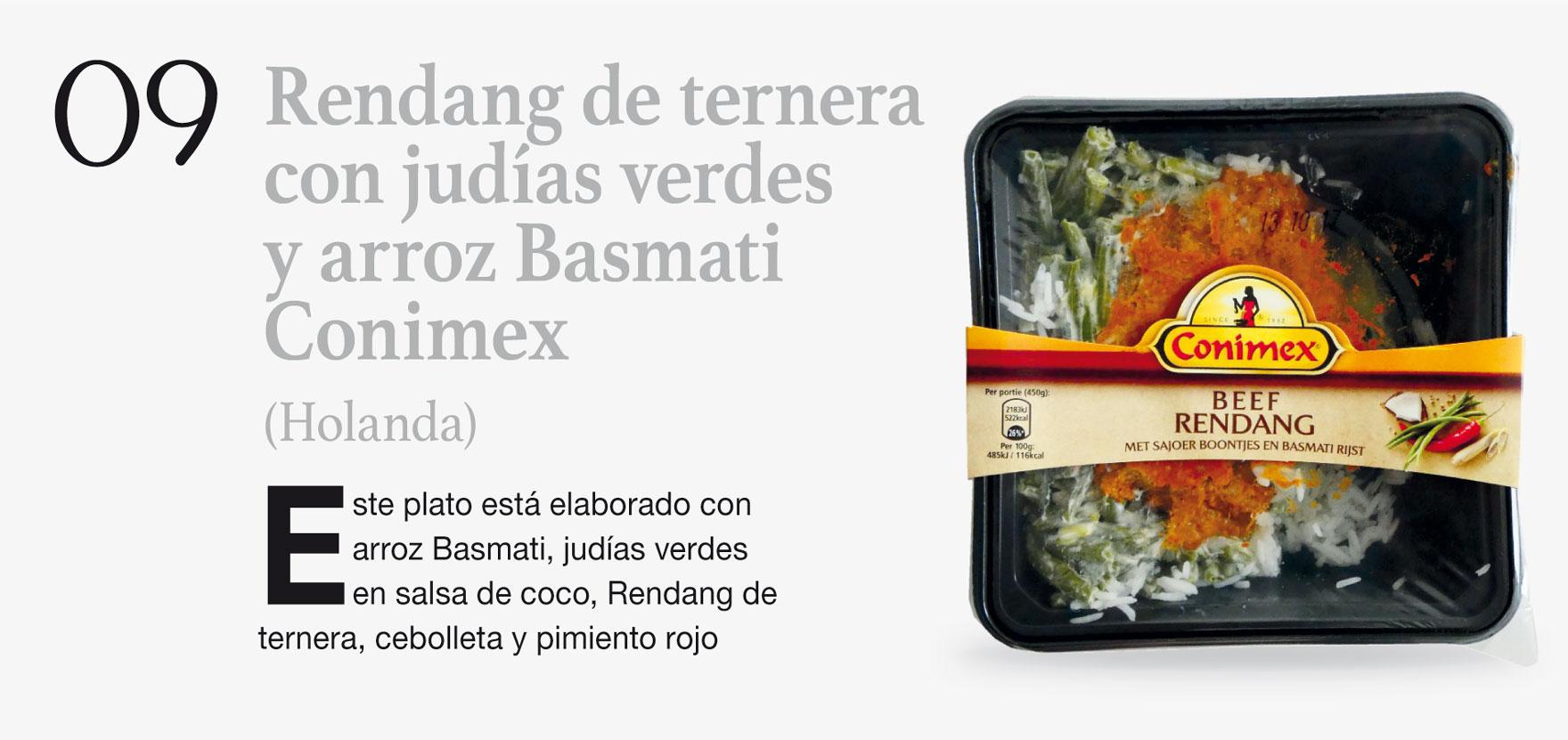 Rendang de ternera con judías verdes y arroz Basmati Convex (Holanda)