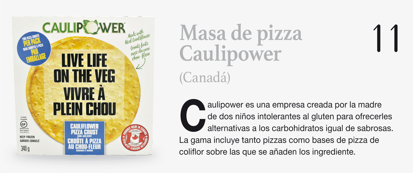 Masa de pizza Caulipower (Canadá)