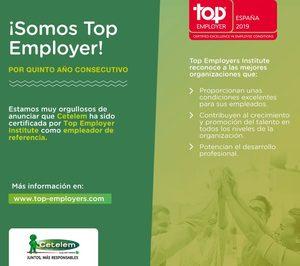 Cetelem obtiene el certificado Top Employers España 2019