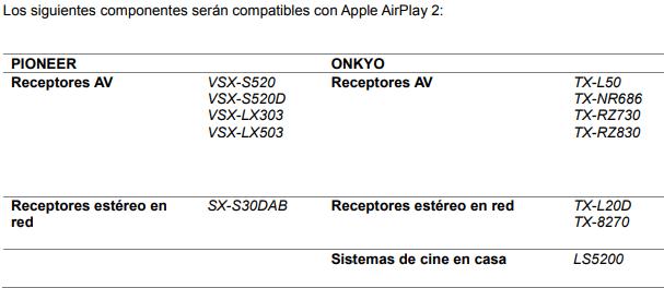 Pioneer y Onkyo lanzan soporte Apple AirPlay 2 para la primavera de 2019