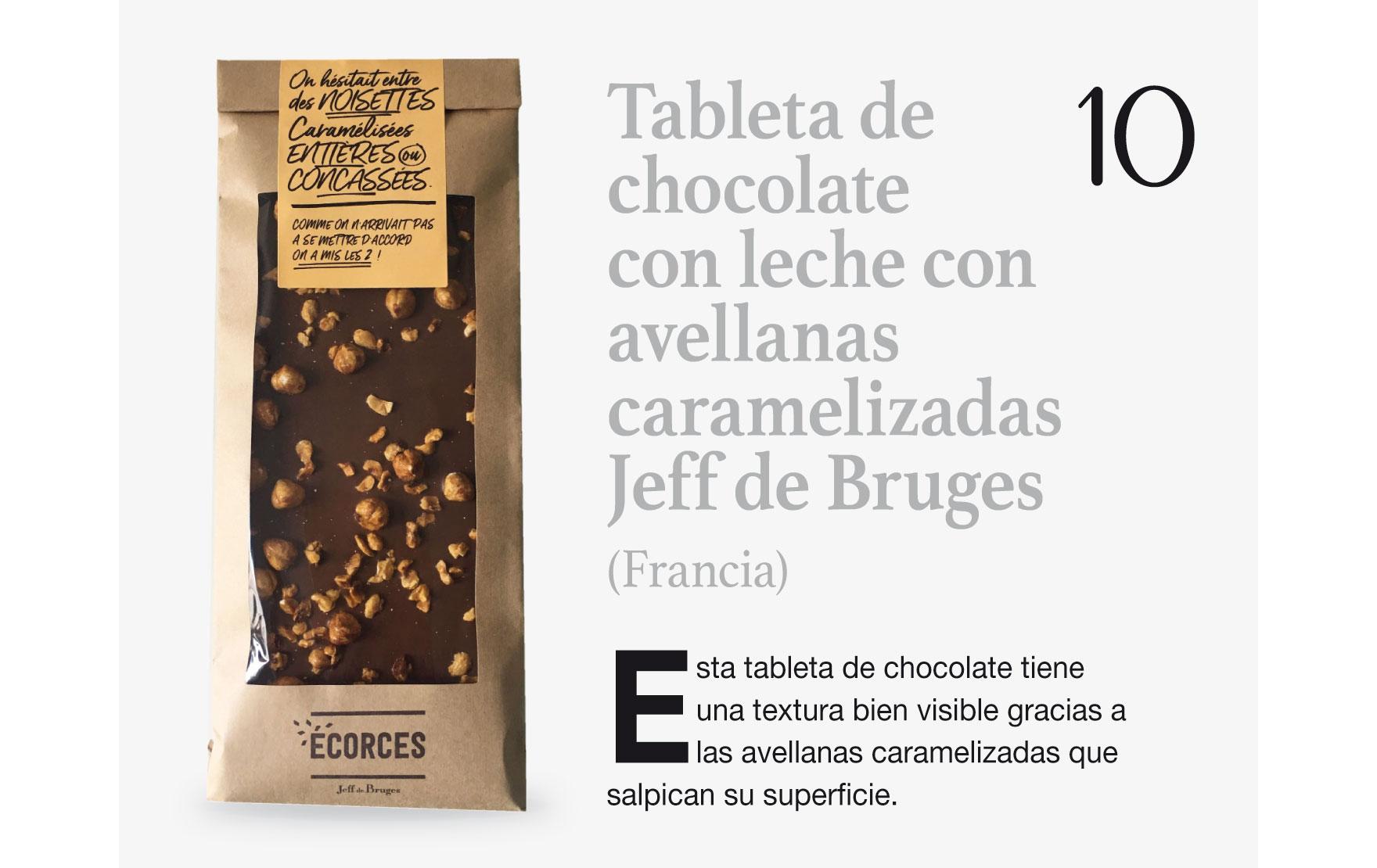 Tableta de chocolate con leche con avellanas caramelizadas Jeff de Bruges (Francia)