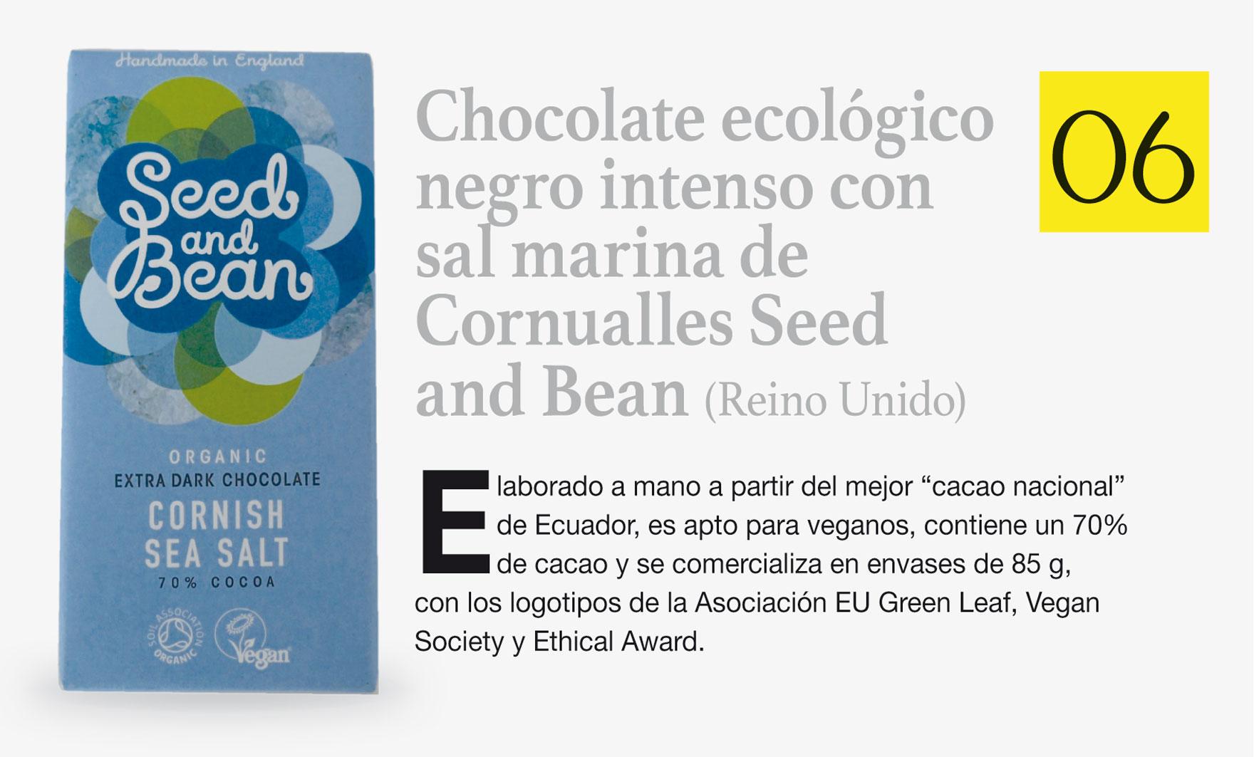 Chocolate ecológico negro intenso con sal marina de Cornualles Seed and Bean (Reino Unido)