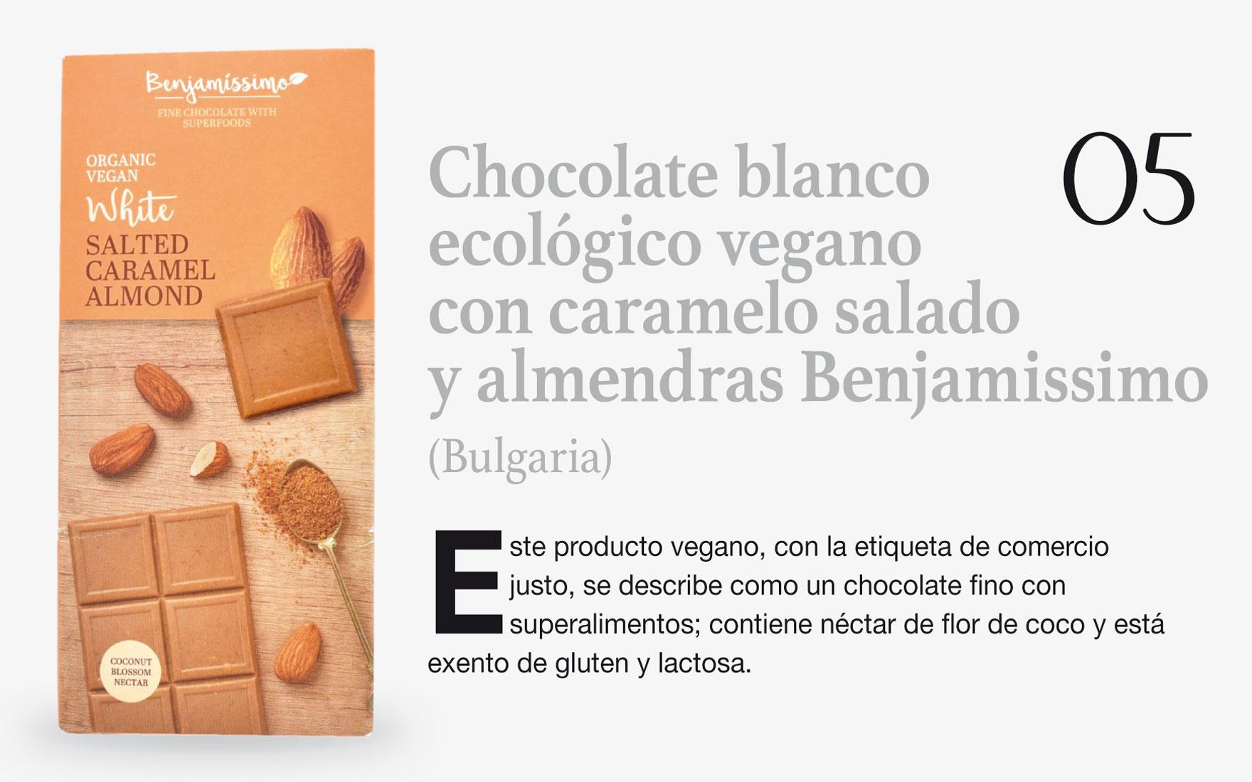 Chocolate blanco ecológico vegano con caramelo salado y almendras Benjamissimo (Bulgaria)