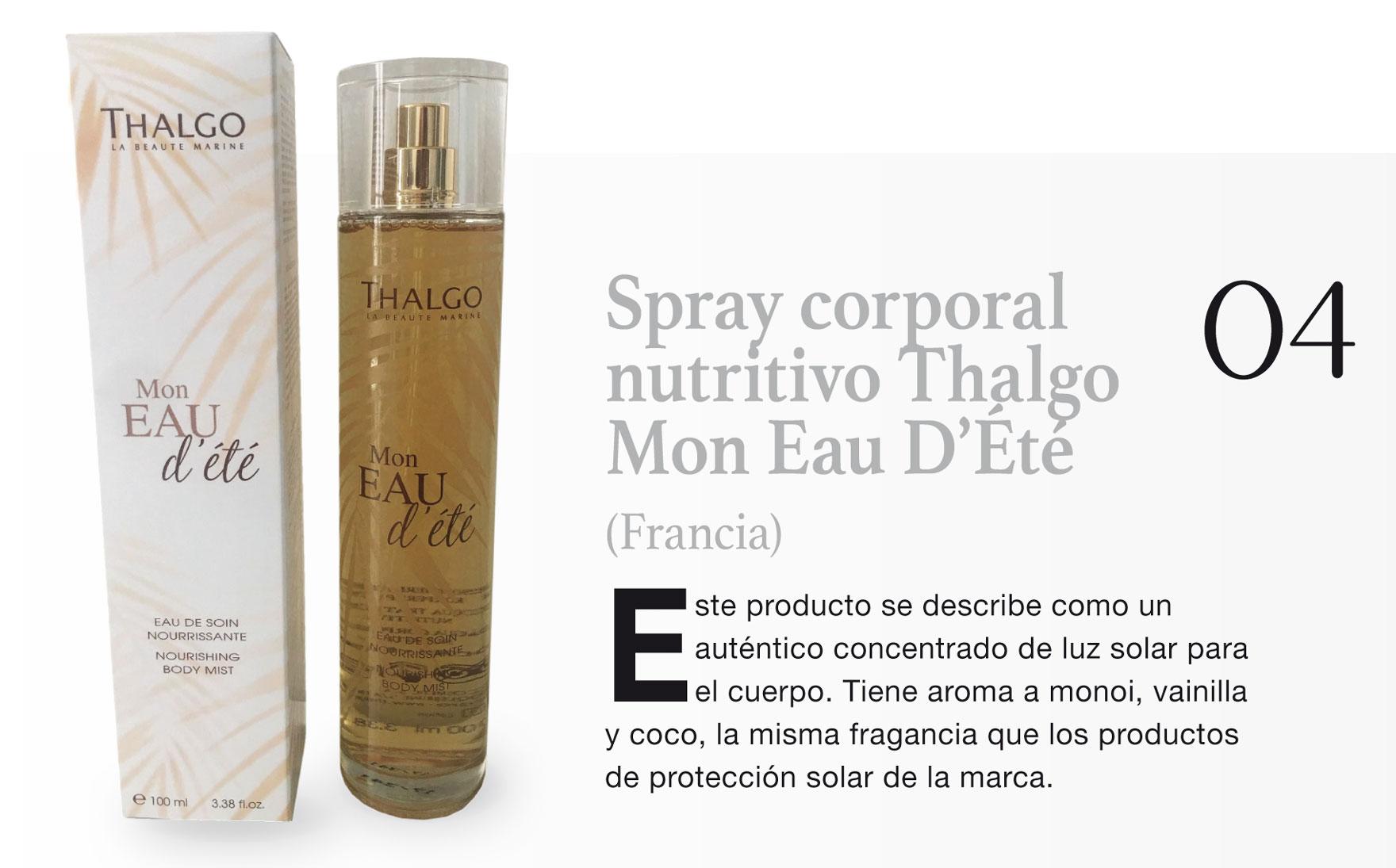 Spray corporal nutritivo Thalgo Mon Eau D'Été (Francia)