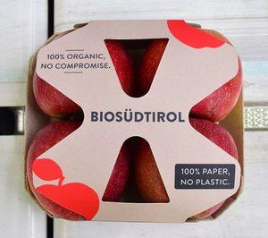 Vog incorpora una nueva bandeja monocartón para sus manzanas