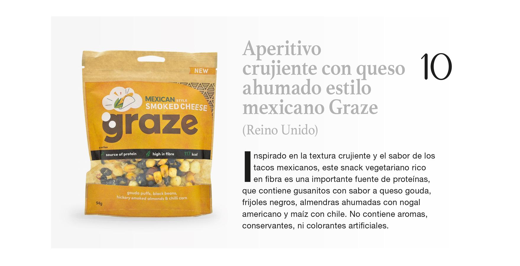 Aperitivo crujiente con queso ahumado estilo mexicano Graze (Reino Unido)