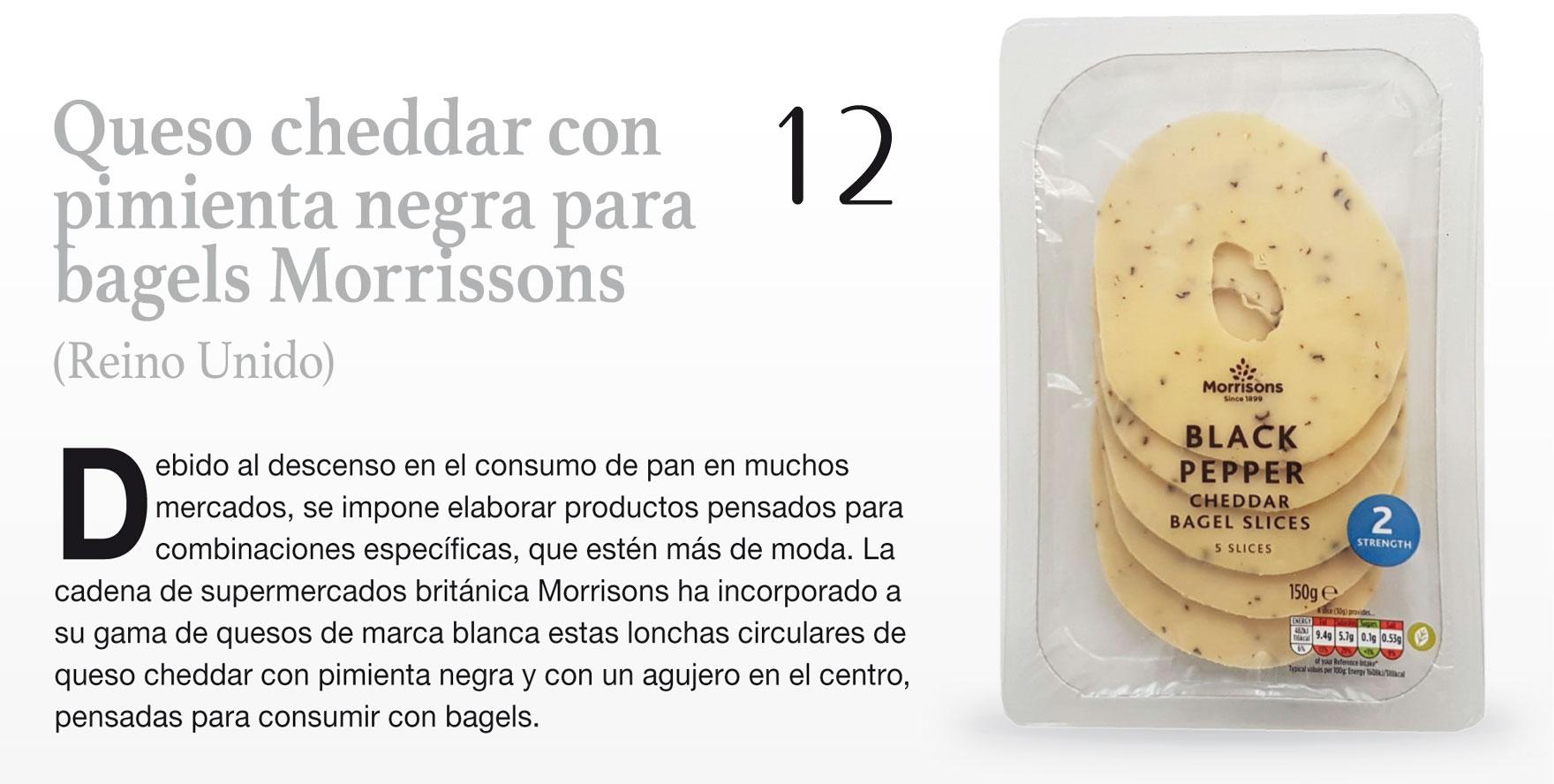 Queso cheddar con pimienta negra para bagels Morrissons (Reino Unido)