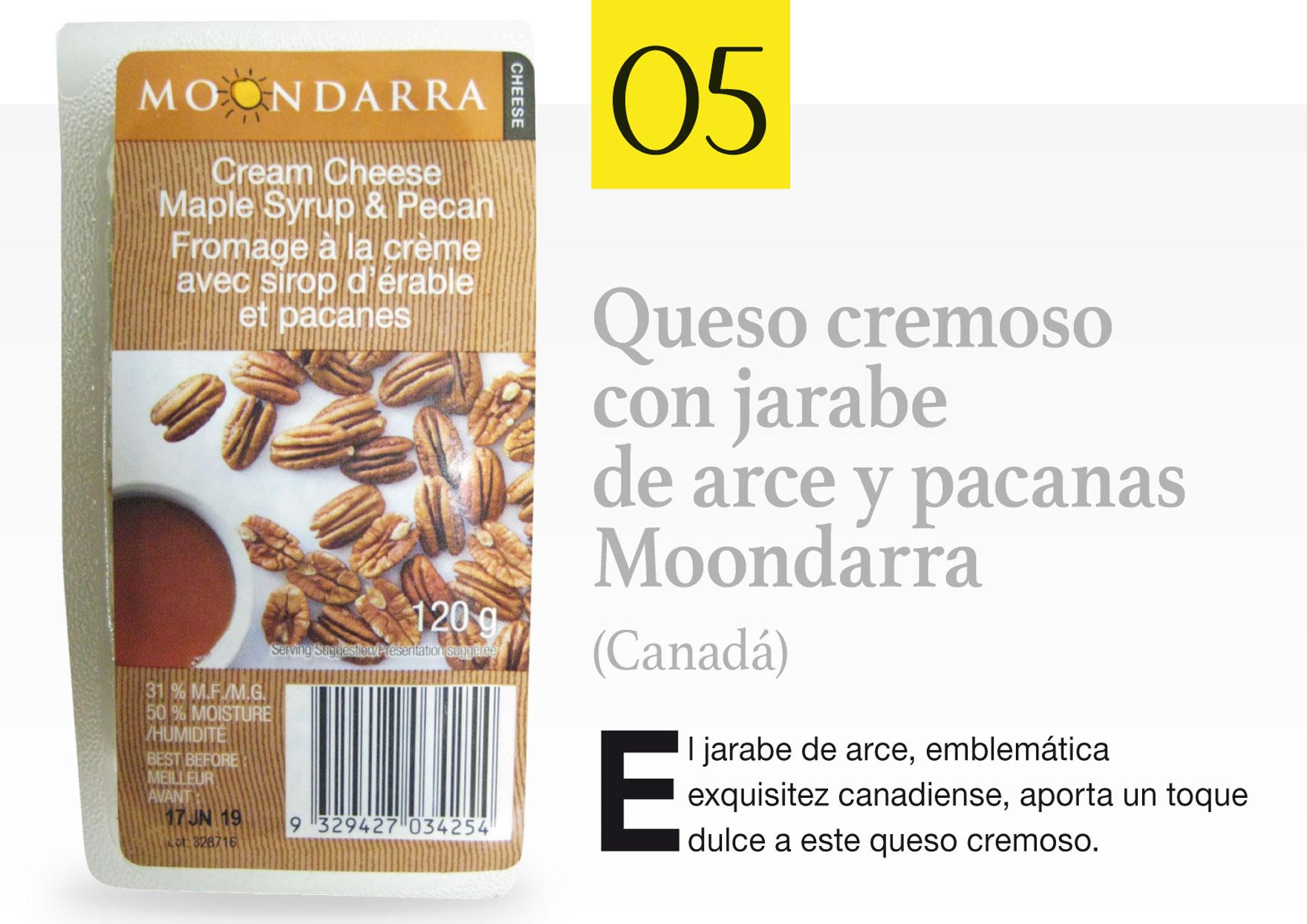 Queso cremoso con jarabe de arce y pacanas Moondarra (Canadá)