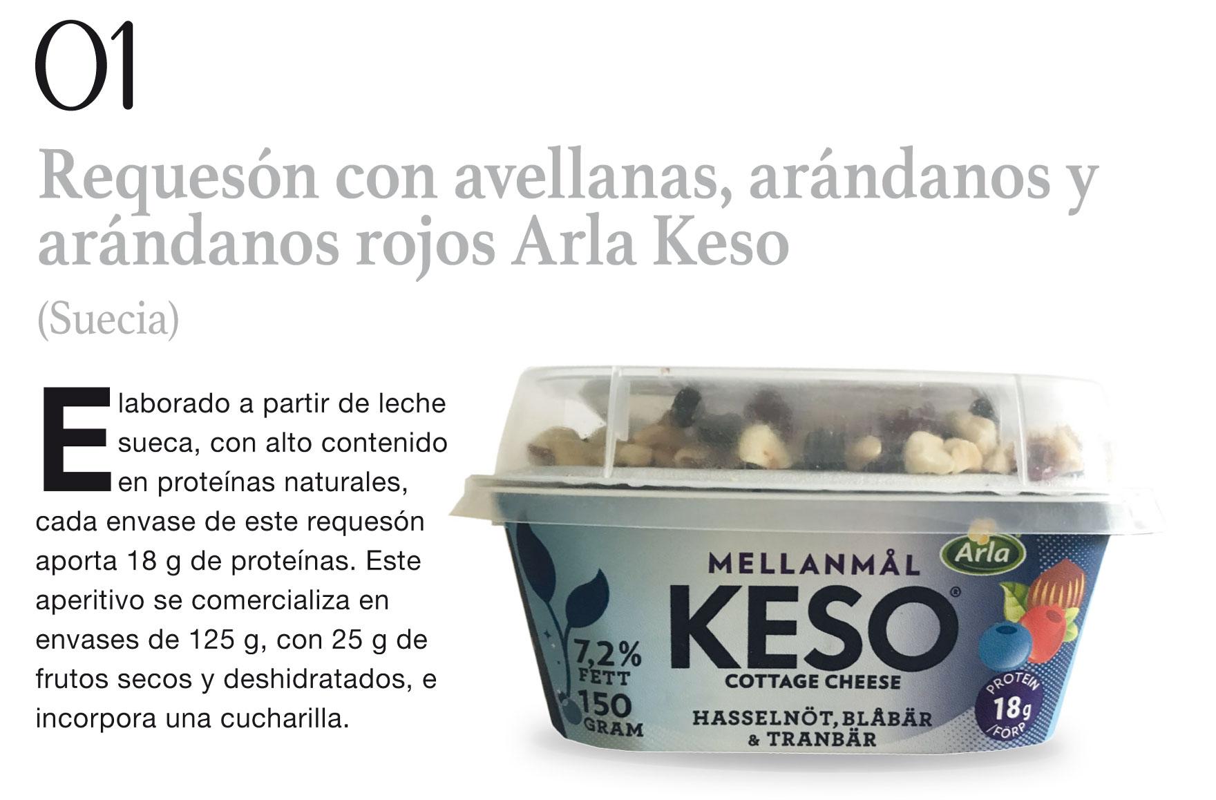 Requesón con avellanas, arándanos y arándanos rojos Arla Keso (Suecia)