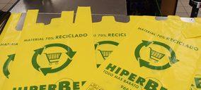 Hiperber sustituye las bolsas de plástico de sus supermercados