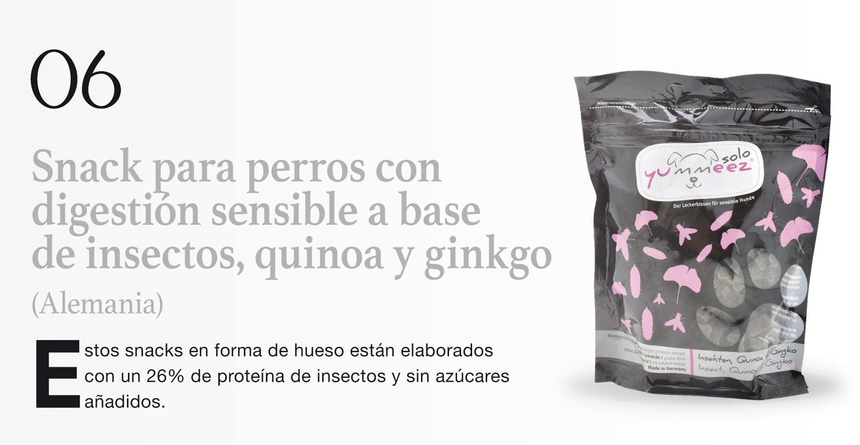 Snack para perros con digestión sensible a base de insectos, quinoa y ginkgo (Alemania)