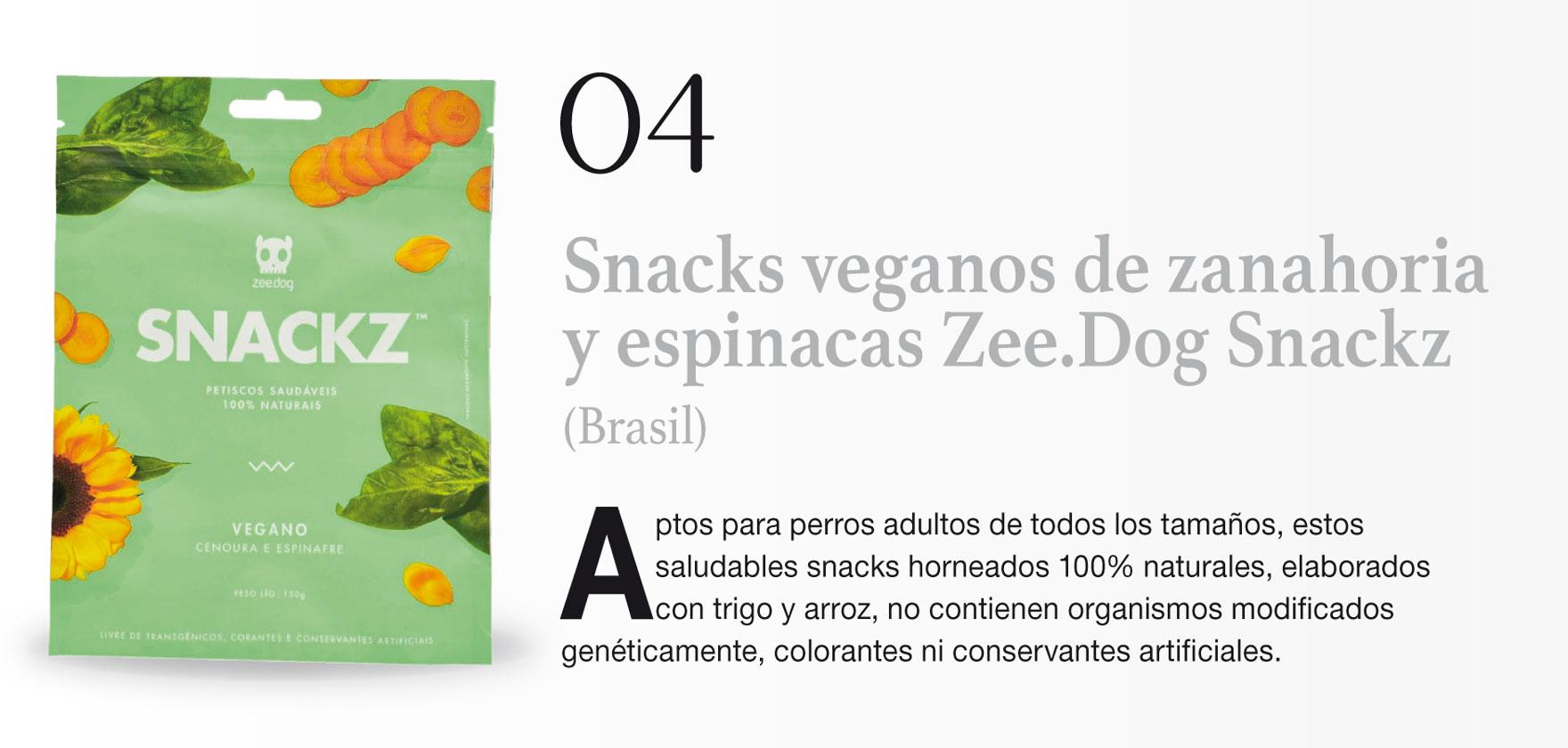 Snacks veganos de zanahoria y espinacas Zee.Dog Snackz (Brasil)