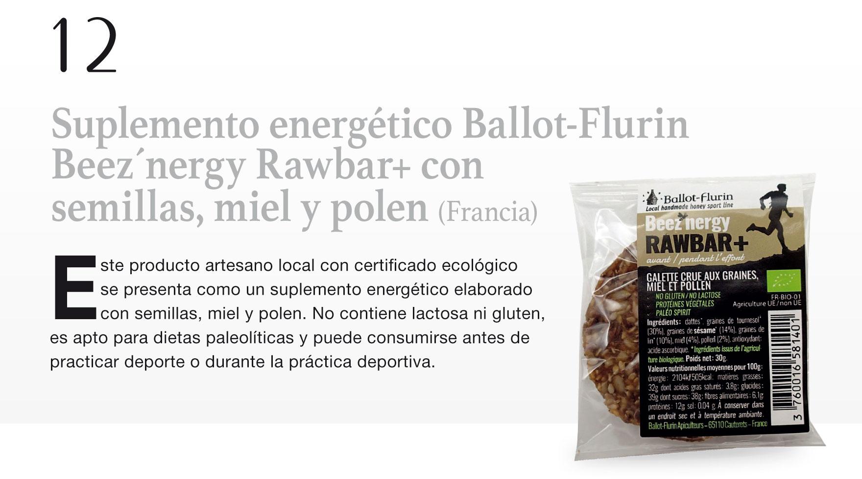 Suplemento energético Ballot-Flurin Beez´nergy Rawbar+ con semillas, miel y polen (Francia)