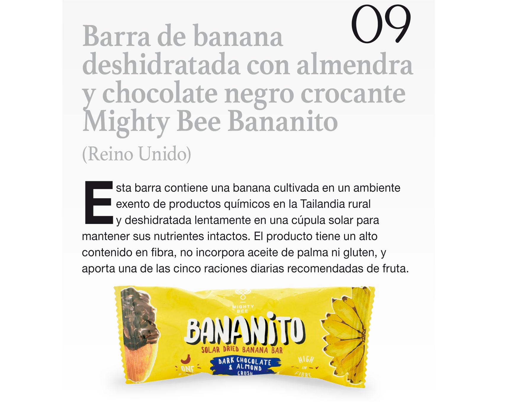 Barra de banana deshidratada con almendra y chocolate negro crocante Mighty Bee Bananito (Reino Unido)