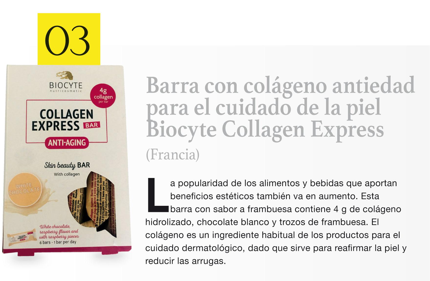 Barra con colágeno antiedad para el cuidado de la piel Biocyte Collagen Express (Francia)
