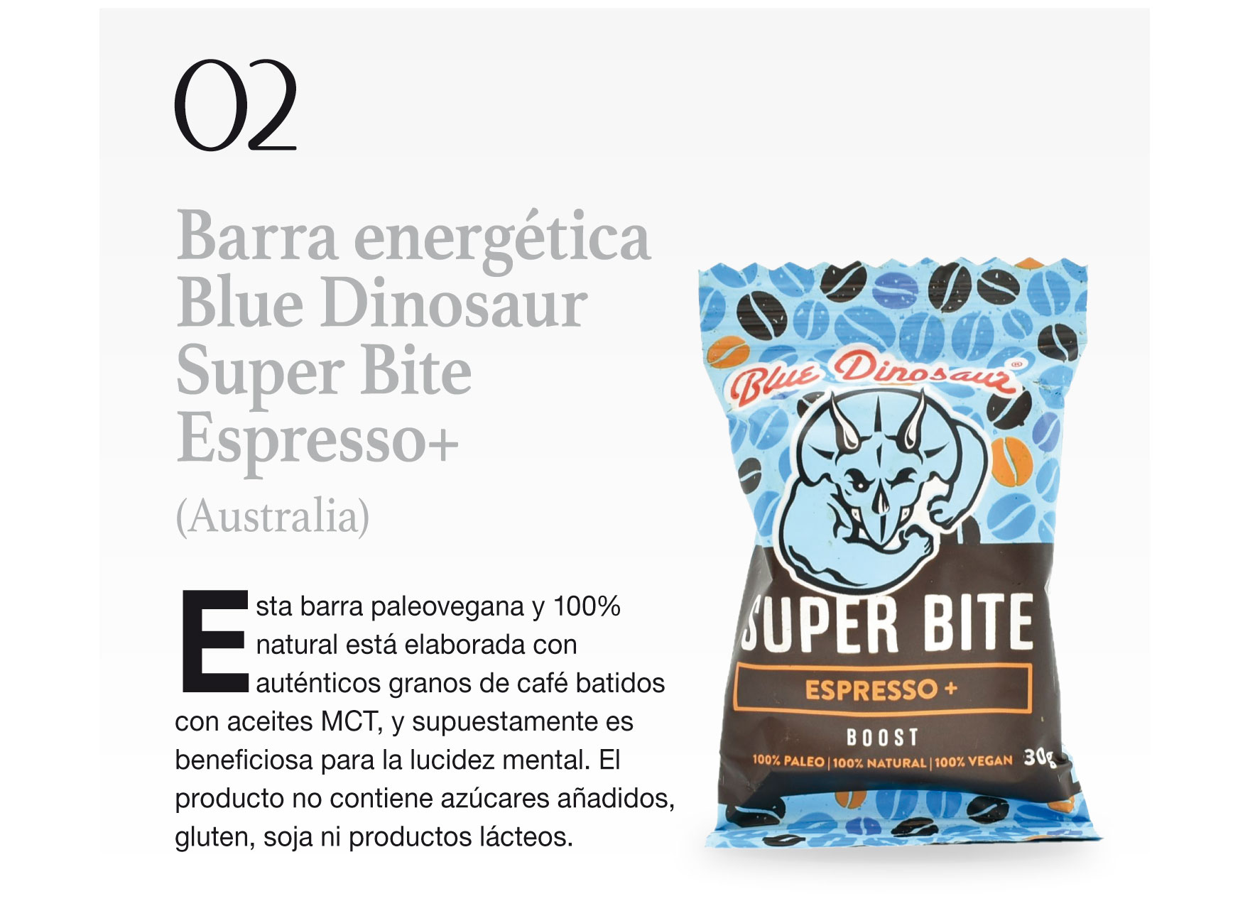 Barra energética Blue Dinosaur Super Bite Espresso+ (Australia)