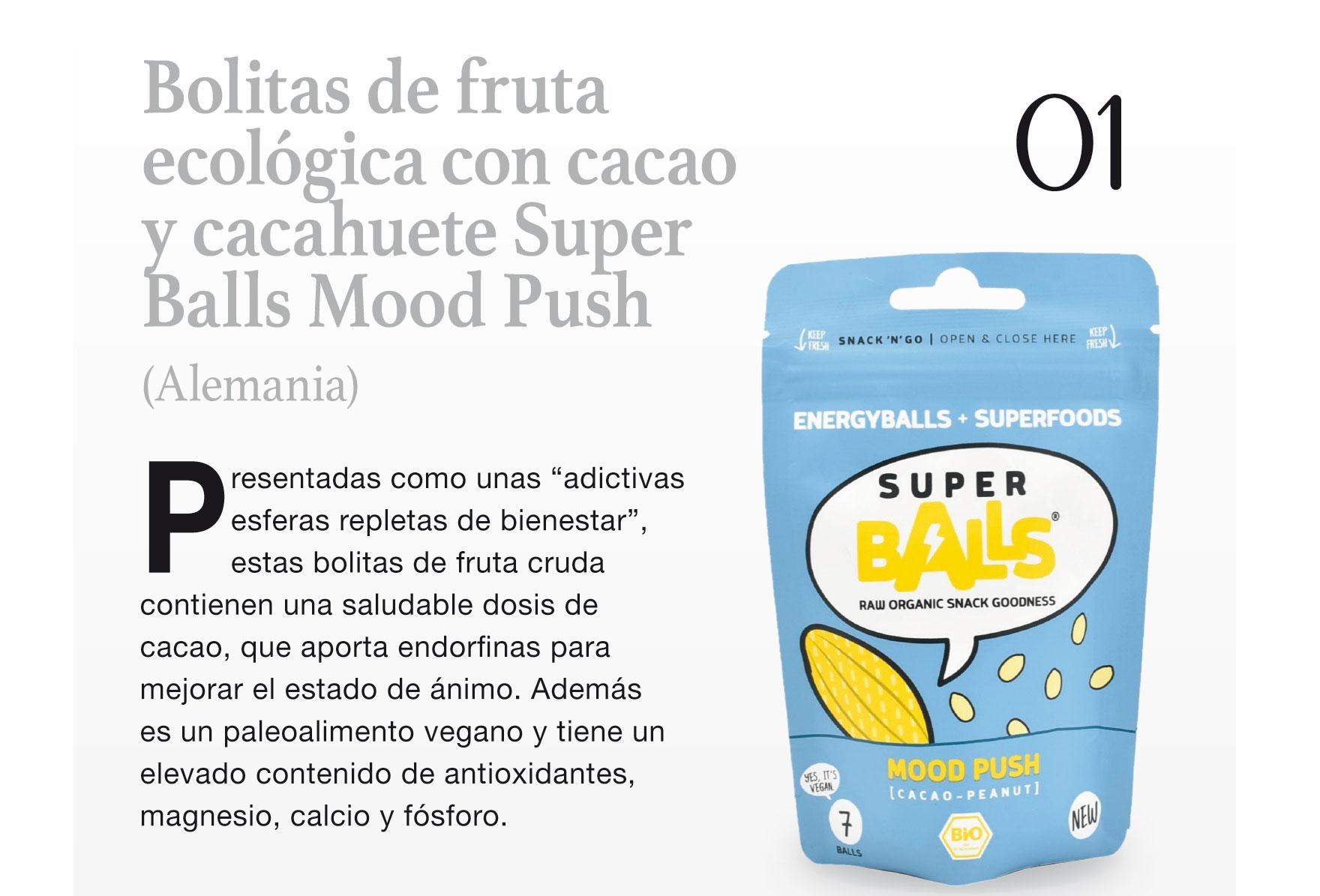 Bolitas de fruta ecológica con cacao y cacahuete Super Balls Mood Push (Alemania)