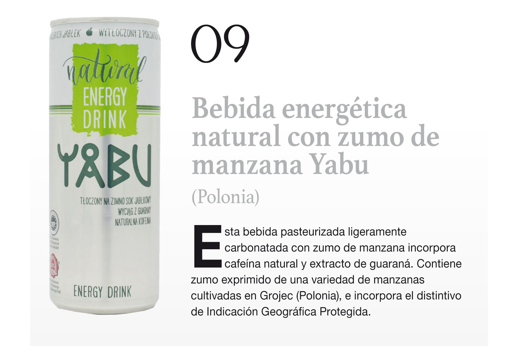 Bebida energética natural con zumo de manzana Yabu (Polonia)