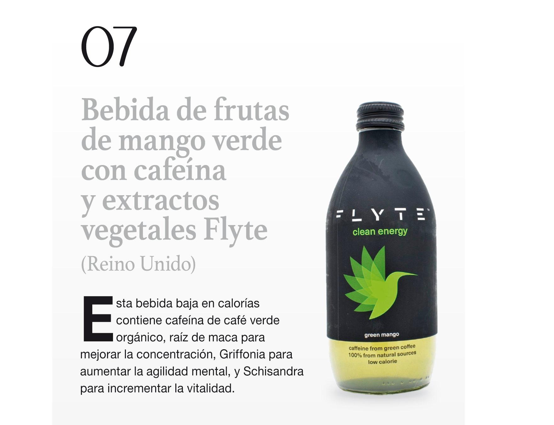 Bebida de frutas de mango verde con cafeína y extractos vegetales Flyte (Reino Unido)