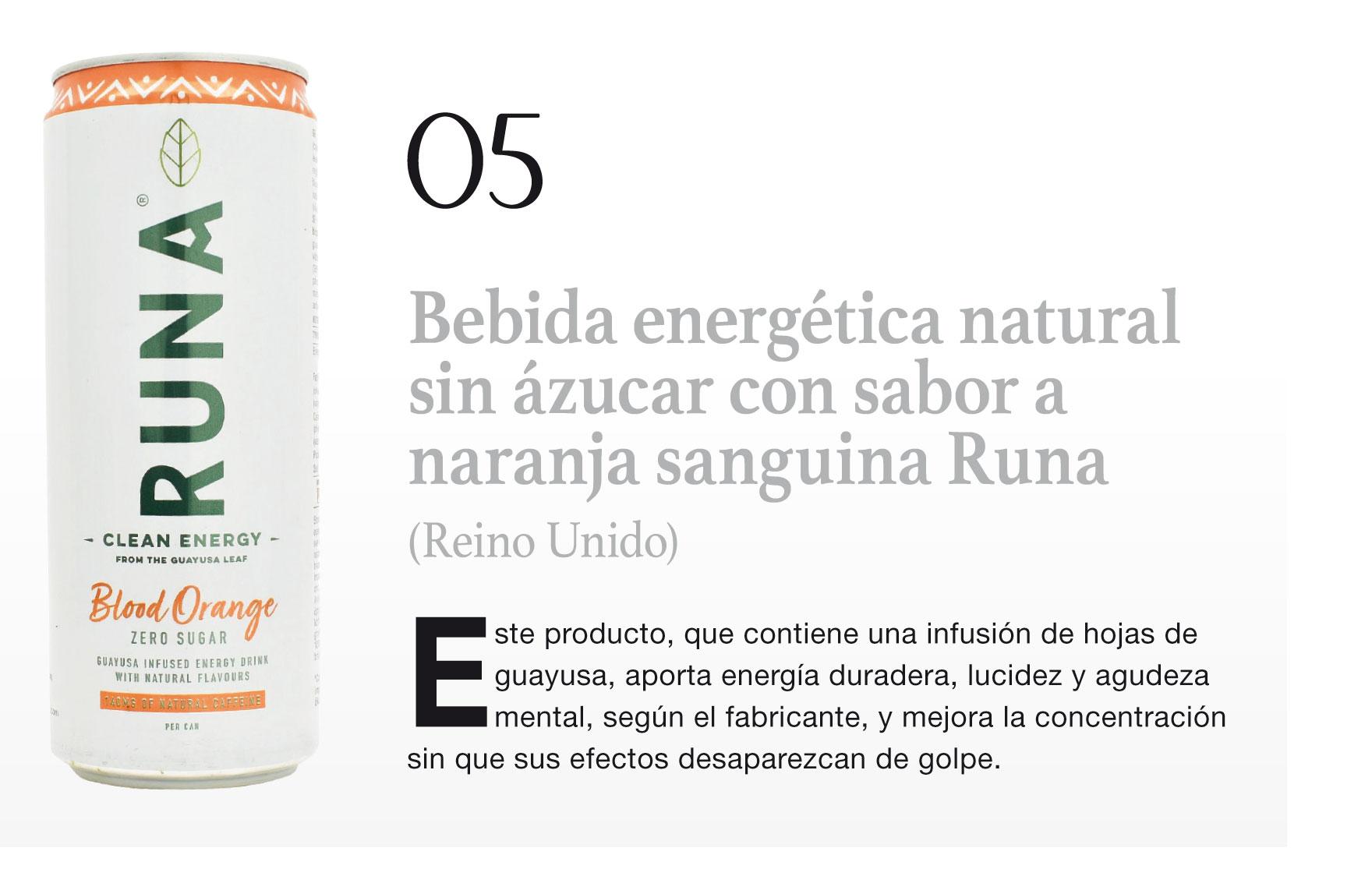 Bebida energética natural sin ázucar con sabor a naranja sanguina Runa (Reino Unido)