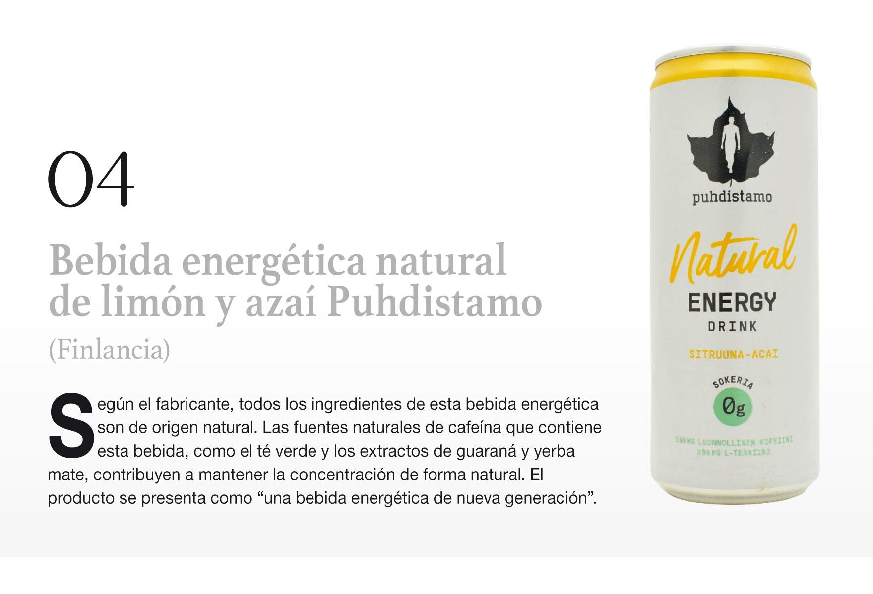 Bebida energética natural de limón y azaí Puhdistamo (Finlancia)