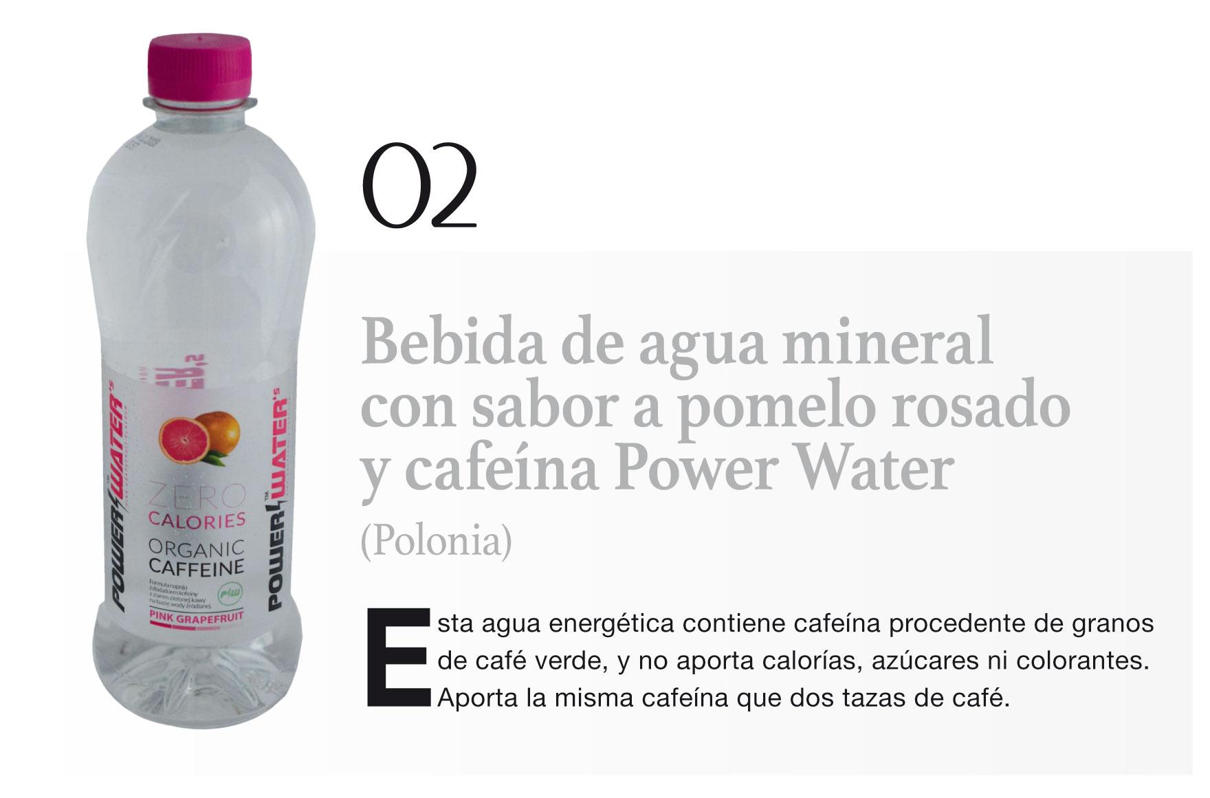 Bebida de agua mineral con sabor a pomelo rosado y cafeína Power Water (Polonia)