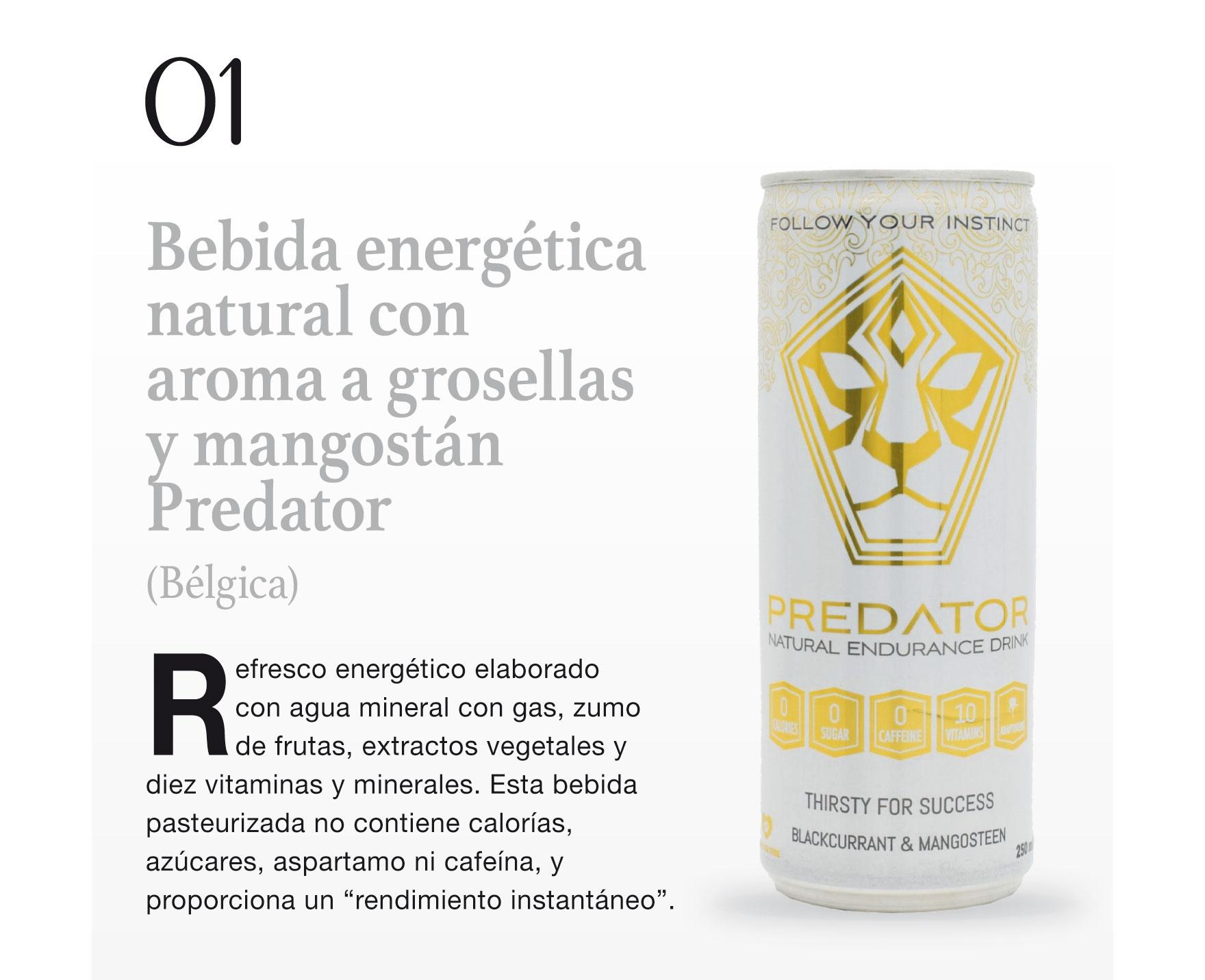 Bebida energética natural con aroma a grosellas y mangostán Predator (Bélgica)