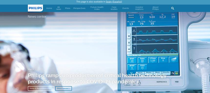 Philips se centra en fabricar soluciones de tratamiento y diagnóstico del COVID-19
