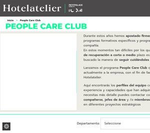Hasta un 40% de la plantilla podría salir de Hotelatelier a través de la plataforma laboral People Care Club