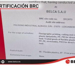 Belca obtiene la certificación BRC para su planta de Lekunberri