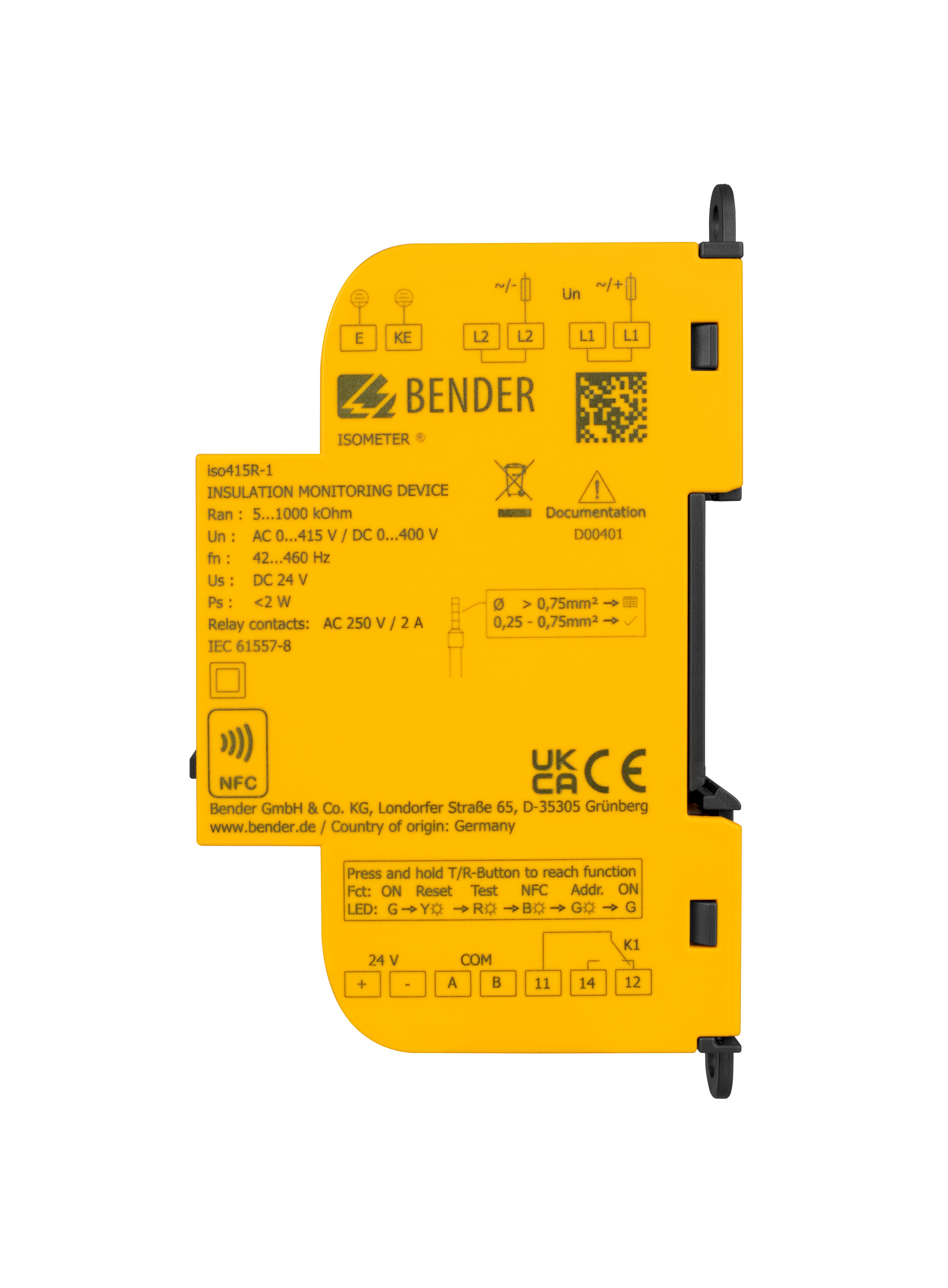 Bender Iberia lanza la solución de vigilancia del aislamiento 'ISOMETER iso415R'