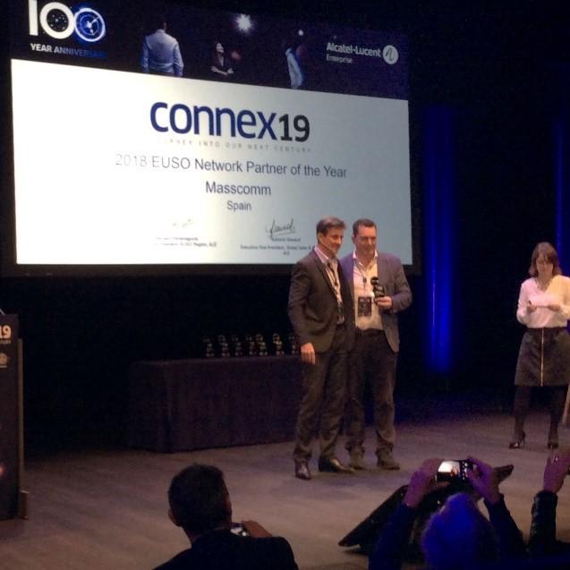 """Masscomm recibe el premio internacional Networking Partner del año zona EUSO por Alcatel-Lucent Enterprise en el evento """"Connex 19""""."""
